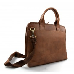 Leather messenger mens ladies satchel shoulderbag ipad tablet bag brown